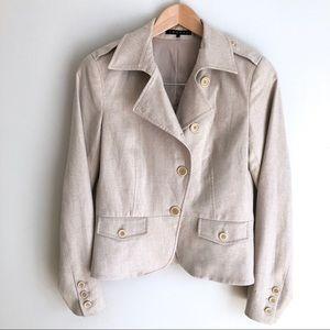 Theory Wool Blend Button Beige Tan Blazer Jacket